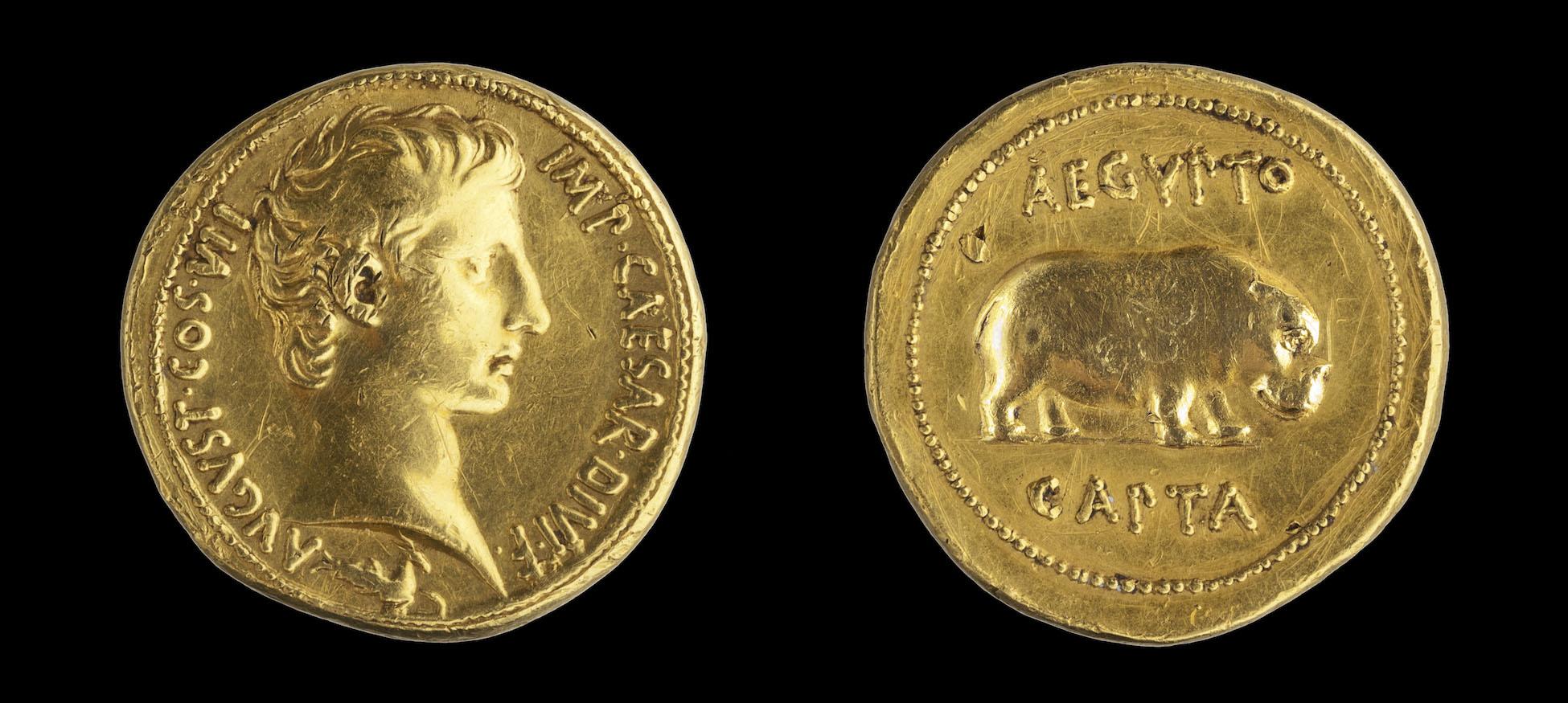 Fig. 5. Quaternion of Augustus, 27 B.C.E., gold, Pergamon(?). Madrid, Museo Arqueológico Nacional, inv. no. 1921/9/1 (Fernando Velasco; courtesy Museo Arqueológico Nacional, Madrid).