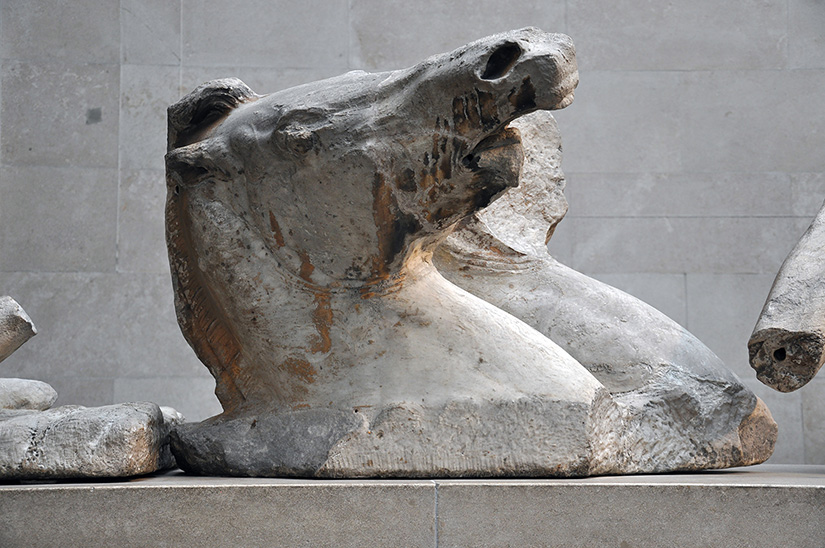 Fig. 12. Helios' outer trace horse (east pediment B), with waves chiseled flat on plinth. London, British Museum.
