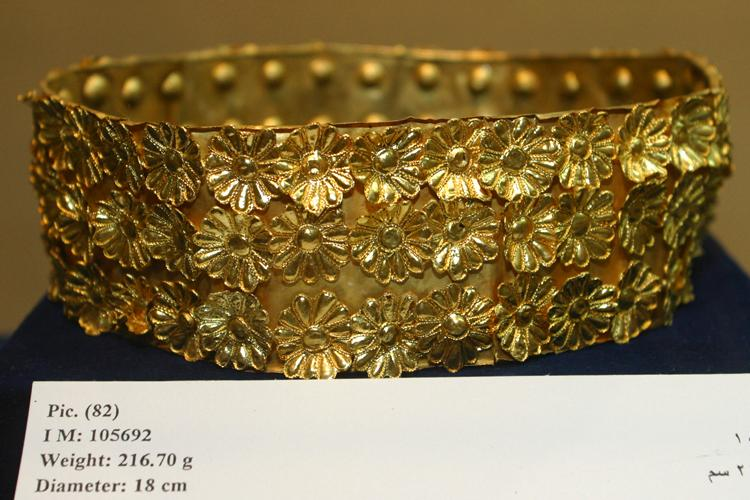 Fig. 1. Gold rosette circlet, ht. 6 cm, diam. 18 cm, Tomb II, Northwest Palace, Nimrud. ND 1989.1; Baghdad, Iraq Museum, inv. no. 105692.