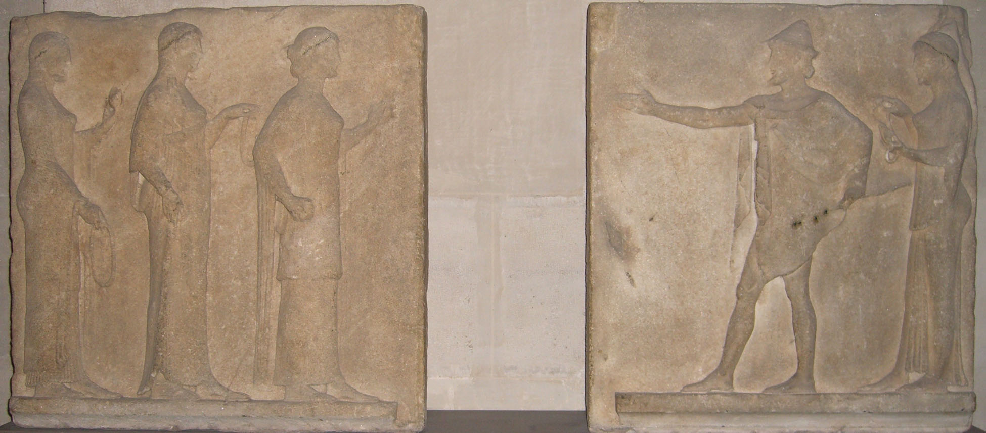 Fig. 9. Relief of Hermes and Charites, northwest wall of the Passage des Théores, Thasos, Greece, sculpted ca. 480 B.C.E.