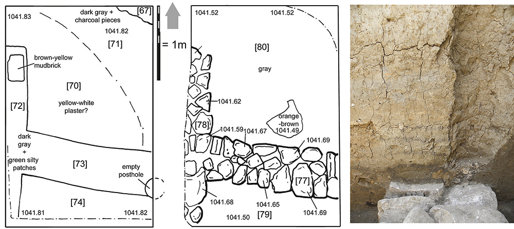 """Fig. 1. Drawings of walls exposed in """"B4g9"""" sondage, with view of large posthole and coursed mudbrick in eastern balk."""