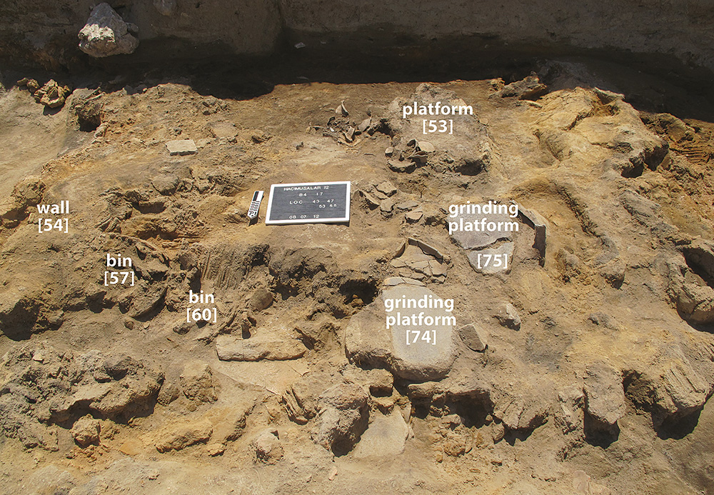 Fig. 9. View of NSS-7 during excavation, showing collapsed walling and broken pottery covering floor and installations.