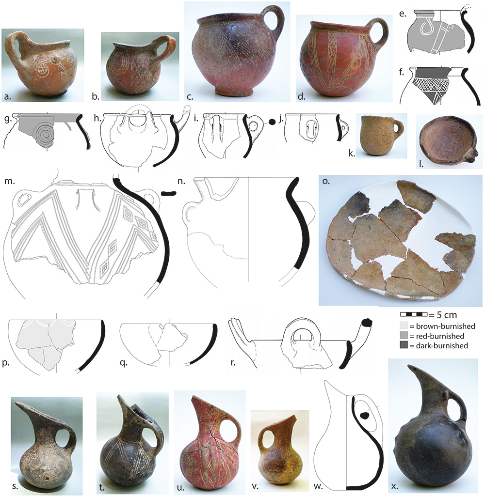 Fig. 12. Selected pottery from general Terraced Building Phase 2 debris: red-burnished jars or cups (<i>a</i>, HM15426; <i>b</i>, HM15744; <i>c</i>, HM15708; <i>d</i>, HM16586; <i>e</i>, HM15408.5; <i>h</i>, HM15408.2; <i>i</i>, HM15714.1; <i>j</i>, HM15406.8); jars (<i>f</i>, HM15960.1; <i>g</i>, HM15737.2, with relief medallion; <i>m</i>, HM16921, with white-filled incisions; <i>n</i>, HM16587, plain-burnished); coarse ware (<i>k</i>, straight-walled cup, HM16585; <i>l</i>, shallow bowl with saddle lug, HM16567; <i>o</i>, baking tray, HM16902); burnished bowls (<i>p</i>, from HM23161 and HM23194; <i>q</i>, from HM23161, buff-burnished; <i>r</i>, HM15445.1, dark-burnished); beak-spouted jugs (<i>s</i>, HM15733; <i>t</i>, HM15734; <i>u</i>, HM16701; <i>v</i>, HM15425; <i>w</i>, HM23853; <i>x</i>, HM16593) (<i>a</i>, <i>d</i>, <i>k</i>, <i>n</i>, <i>s&ndash;v</i>, <i>x</i> now in the Antalya Museum; <i>b</i>, <i>c</i>, <i>l</i>, <i>o</i>, <i>w</i> now in the Elmalı Museum).