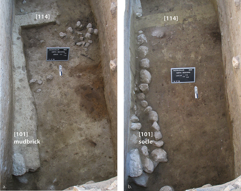 Fig. 15. Two successive views, left to right, of building in North Sounding Phase C during excavation.
