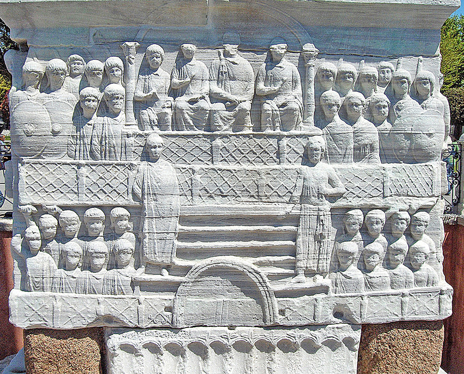 Fig. 7. Southwestern face of the Theodosian obelisk base, ht. of the relief block 239 cm. Istanbul. (JoJan / CC BY-2.5, courtesy Wikimedia Commons).
