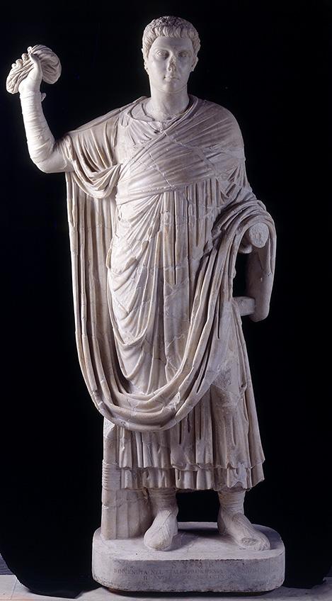 Fig. 9. Younger togate statue, ht. 1.88 m, Horti Liciniani, Rome. Centrale Montemartini, Musei Capitolini, inv. no. 895 (© Roma, Sovrintendenza Capitolina ai Beni Culturali).
