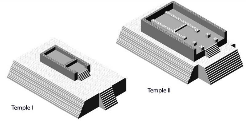 Fig. 22. Sanctuary on the Ara della Regina: preliminary hypothetical reconstruction of Temples I and II (Pian della Regina) (Tarquinia Project).