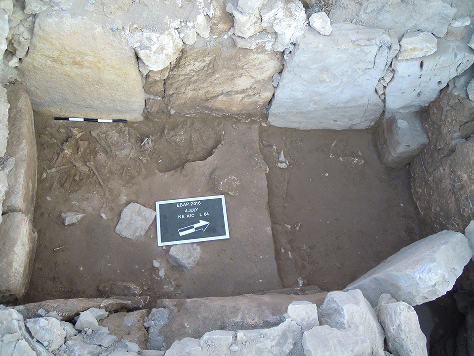 Fig. 3. Tomb 5 of the Blue Stone Structure during excavation; comingled human remains in the southwest corner.