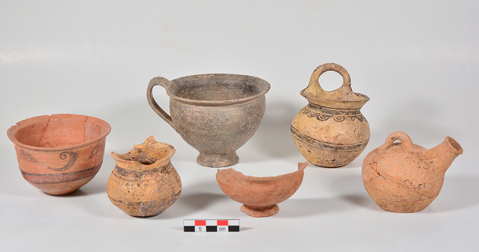 Fig. 4. Selection of ceramic vessels from Tomb 5 in the Blue Stone Structure; left to right: bichrome cup with stylized dolphins (P1505), matte-painted vertical ring-handled cup (P1504), Gray Minyan cup (P1503), undecorated kantharos (P1513), matte-painted vertical ring-handled cup (P1502), lustrous decorated askos (P1528).