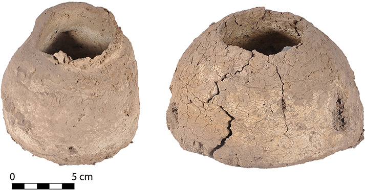 Fig. 5. Unfired handmade clay vessels from Tomb 10 in the Blue Stone Structure.