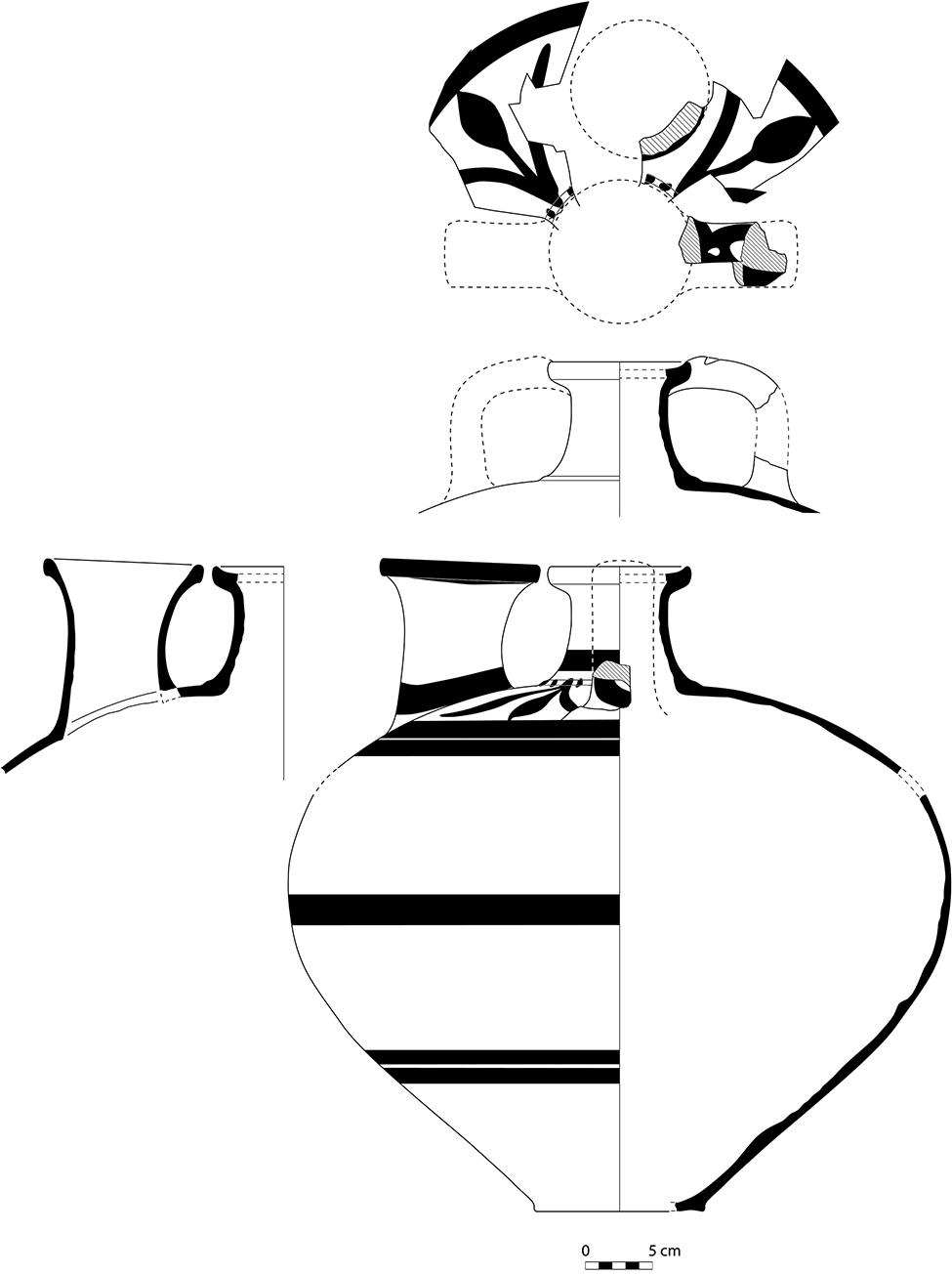 Fig. 12. Transport stirrup jar (P0894) from the burnt destruction debris of the upper story of the Northwest Complex (drawing by T. Ross).