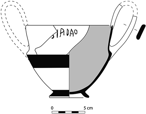 Fig. 17. Kantharos with dipinto (P0016) from a mid sixth-century BCE pit in the southwest quadrant (drawing by T. Ross).