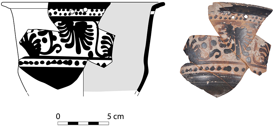 Fig. 18. Classical-period Boeotian black-figure kalathos-pyxis with palmette decoration (P0149) from trench SWB3c votive deposit (drawing by T. Ross).