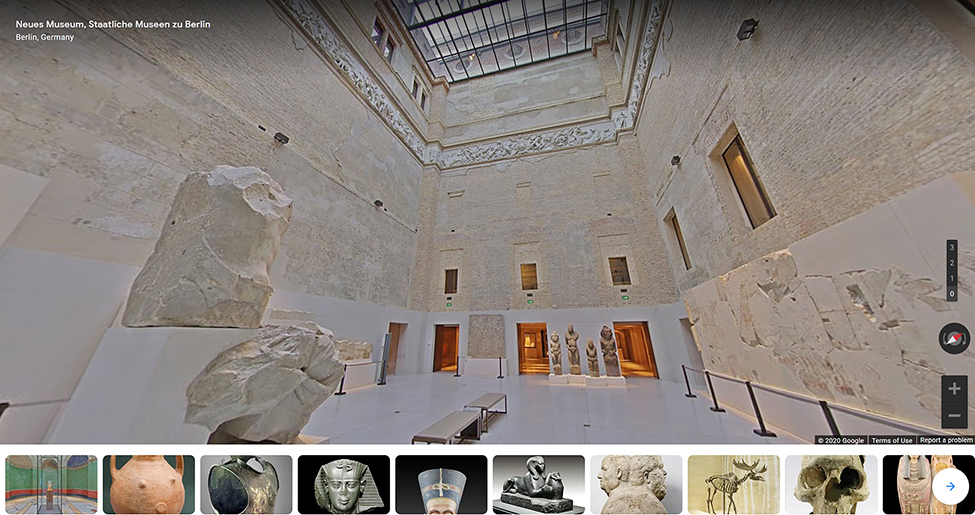 Fig. 1. Screenshot of Google Street View virtual tour of the Neues Museum, Berlin, on the Google Arts & Culture app. (Neues Museum n.d.; © 2020 Google; courtesy Neues Museum).