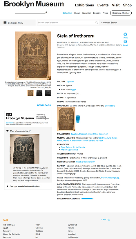 Fig. 2. Screenshot of Brooklyn Museum (Brooklyn, N.Y.) online collections record for the Stela of Irethoreru (Brooklyn Museum 07.422, acq. 1907) showing a travel mug as a visual scale and visitor-submitted questions and tags (Brooklyn Museum n.d.; digital image of object under CC BY 3.0 license; screenshot courtesy Brooklyn Museum).