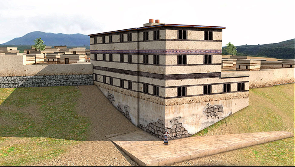 Fig. 10. Computer reconstruction of the Cyclopean Terrace Building (CTB). View from the northwest (reconstruction by D. Tsalkanis).