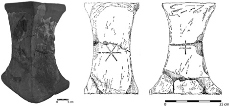 Fig. 7. The sandstone altar of Room XVIII 1 (drawing after Chapouthier et al. 1962, fig. 2; courtesy École française d'Athènes).