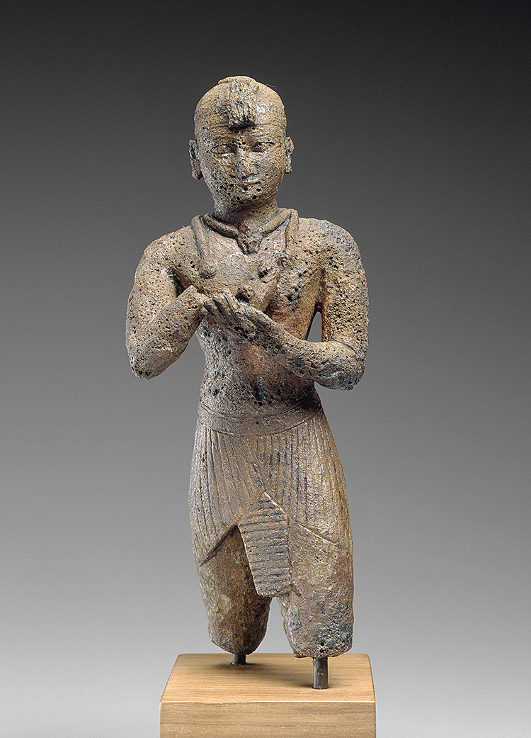 Fig. 2. Bronze statuette of King Taharqa, Napatan period, 690–664 BCE, excavated at Gebel Barkal, Harvard University—Boston Museum of Fine Arts Expedition. Boston, Museum of Fine Arts 21.3096 (© Museum of Fine Arts, Boston).