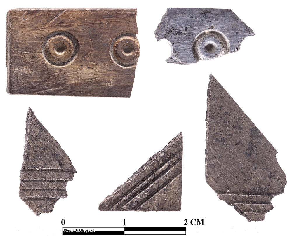 Fig. 2. A sample of carved bone inlays from Room C of the MB IIC mudbrick fortress (T. Rogovski).