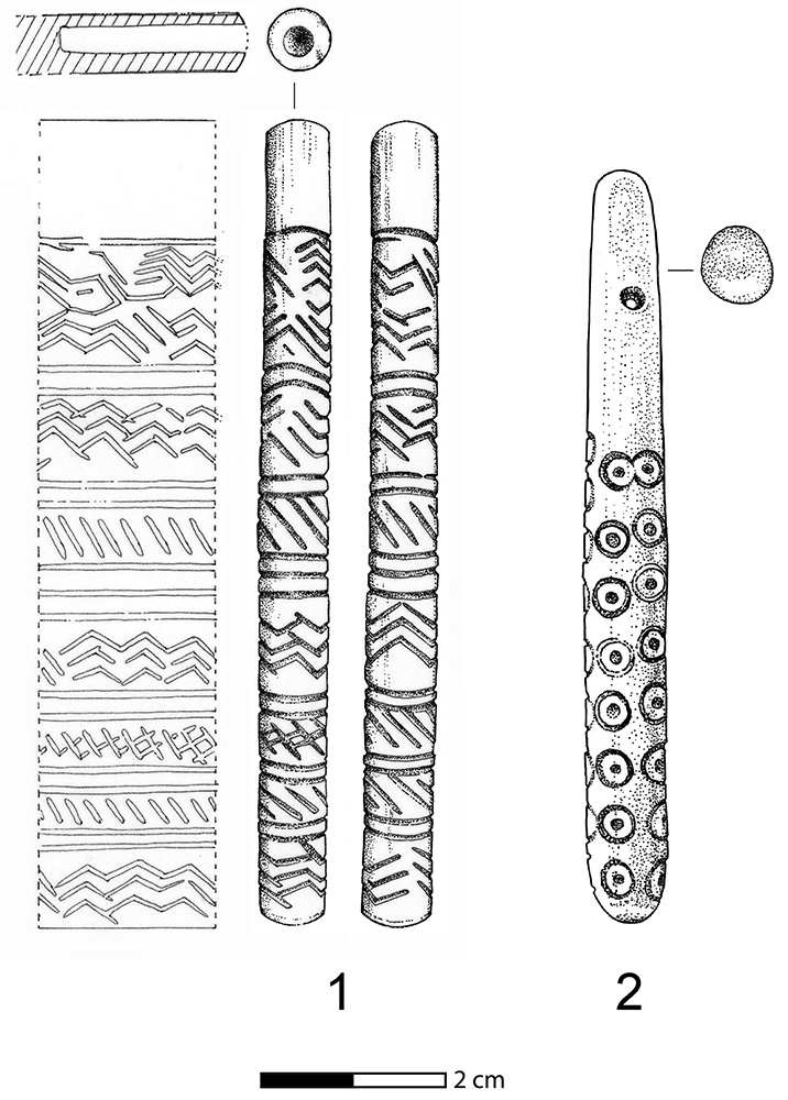 Fig. 10. Carved ivory and bone objects from Level V in Area AA: <i>1</i>, small carved ivory artifact; <i>2</i>, decorated bone pendant (drawings by G. Hasel).