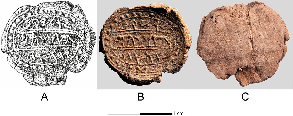 Fig. 17. Clay bulla bearing the Hebrew inscription <i>l'lyqm yhwzrḥ</i> (belonging to Eliakim [son of] Yehozaraḥ) <i>1</i>, technical drawing;<i> 2</i>, front; <i>3</i>, back with a papyrus impression. The middle register is decorated with two does facing one another. Two identical bullae from the Level III Assyrian destruction of 701 BCE were found (drawing by A. Yardeni;, photographs by T. Rogovski).