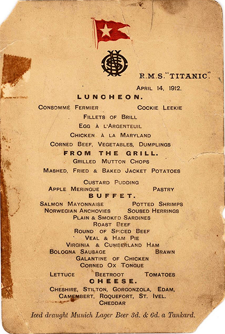 Fig. 4. Menu for 14 April 1912, recovered from the wreck of the R.M.S. Titanic and conserved with parylene. Private collection (© Henry Aldridge & Son Ltd).