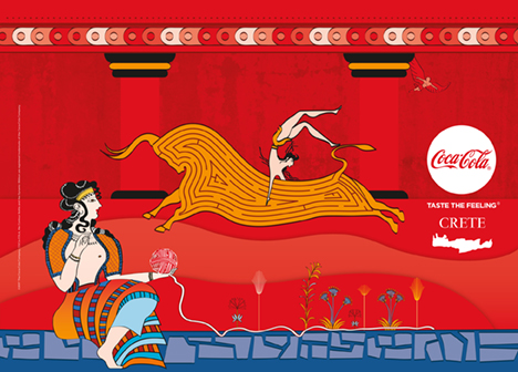 Fig. 1. Commercial poster for Coca-Cola in Crete in summer 2017, showing various themes inspired by Cretan, especially Knossian, mythology and art; the design of the Taureador Fresco from the palace of Knossos (Evans 1930, fig. 144) is transformed to render a labyrinth on the body of the bull (© 2017 The Coca-Cola Company. All rights reserved).