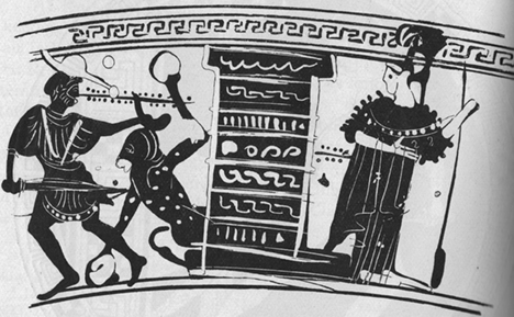 Fig. 2. Early fifth-century Attic black-figure lekythos, attributed to the Beldam Painter, showing the Minotaur next to a structure. Athens, National Museum, inv. no. 1061 (ABL, no. 268.54; BAPD, no. 352150) (Cook 1914, 474).