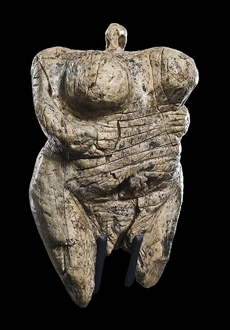 Fig. 3. Venus of Hohle Fels, mammoth ivory, 35,000–40,000 years old, ht. 6 cm. Blaubeuren, Urgeschichtliches Museum (J. Wiedmann; © Urgeschichtliches Museum Blaubeuren).