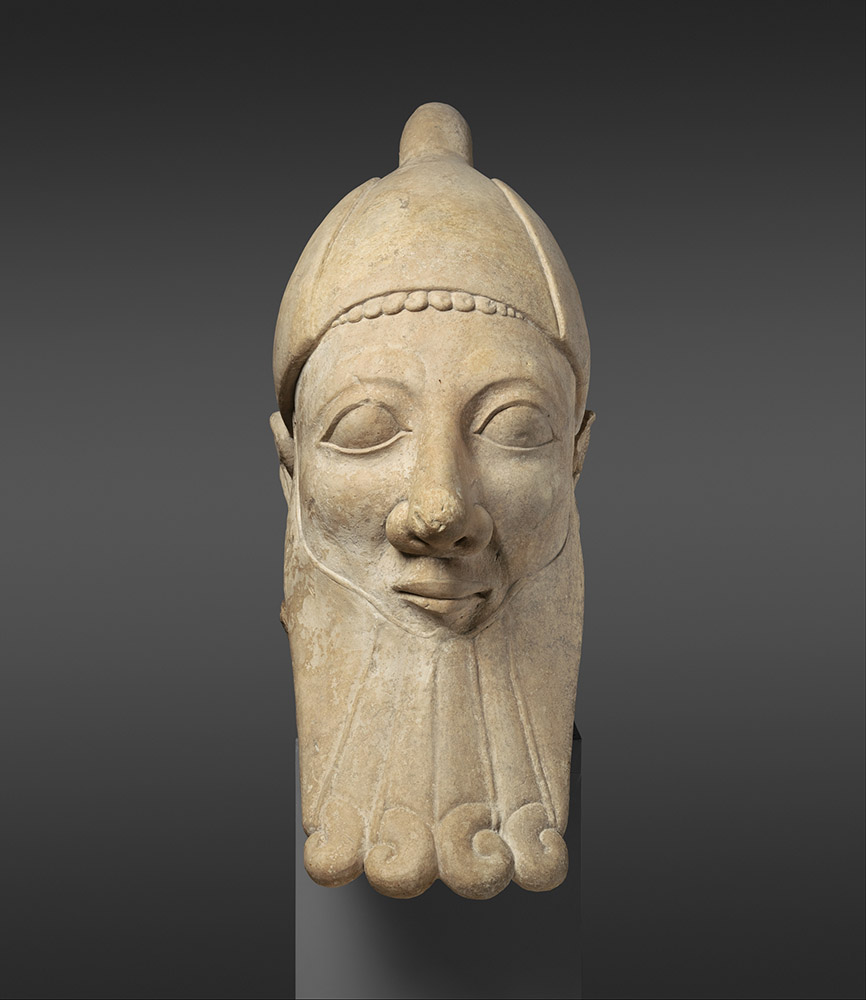 Fig. 1. Limestone head of a bearded man, Cypriot, early sixth century BCE, ht. 191.8 cm. New York, Metropolitan Museum of Art 74.51.2857, acq. between 1874 and 1876 as part of the Cesnola Collection, purchased by subscription (courtesy Metropolitan Museum of Art).