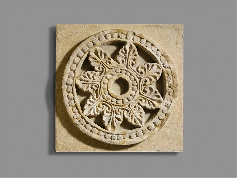 Fig. 3. Architectural roundel with radiating palmettes, Sassanian, late sixth century CE, Ctesiphon, ht. 62.2 cm. New York, Metropolitan Museum of Art 32.150.1, acq. 1932, Rogers Fund (courtesy Metropolitan Museum of Art).