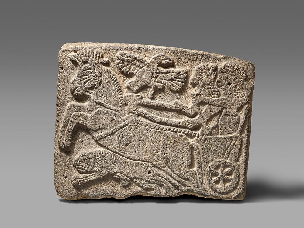 Fig. 5. Orthostat relief lion-hunt scene, Hittite, ca. 10th–9th century BCE, Tell Halaf, Syria, ht. 56 cm. New York, Metropolitan Museum of Art 43.135.2, acq. 1943, Rogers Fund (courtesy Metropolitan Museum of Art).