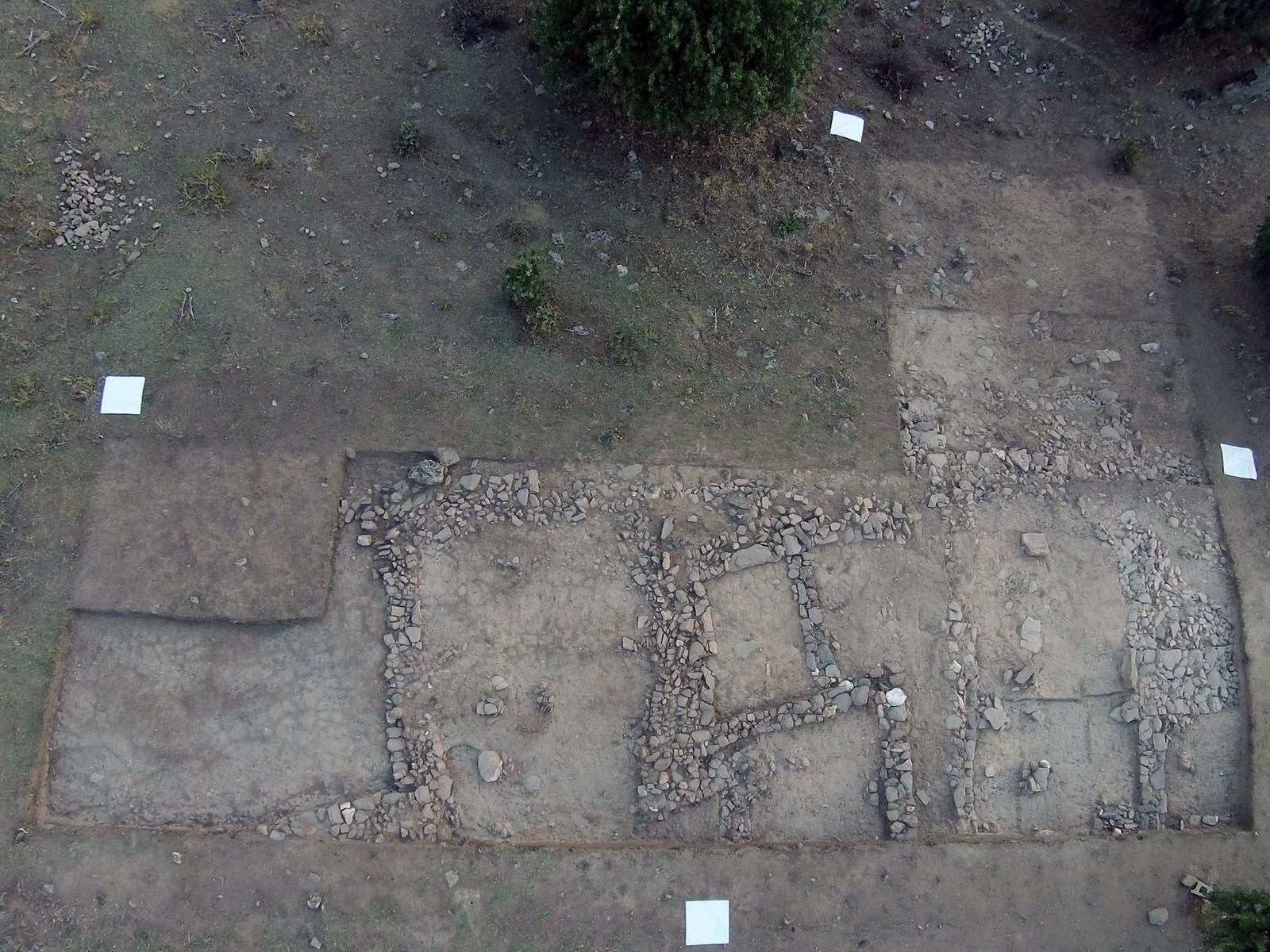 Fig. 3. Overhead view of area 95.555 (north up). White squares are 1 m on a side.