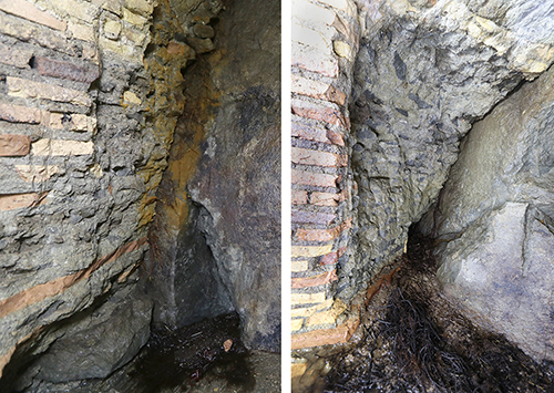Fig. 5. Hacked concrete cores: <em>left</em>, behind Pier 5; <em>right</em>, behind Pier 11. Tiers of aggregate and visible <em>bipedales</em> running through the thickness of the piers demonstrate that the cores are Roman (R.B. Gorham).