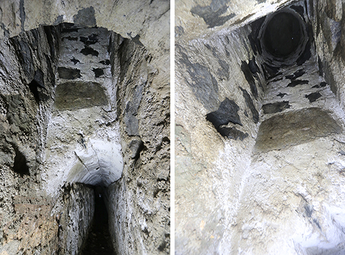 Fig. 16. Pozzo 2, two views from the zigzag channel toward the offtake. Toeholds are sunk into the shaft wall on the left and right sides (R.B. Gorham).