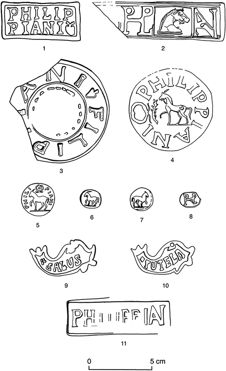Fig. 1. Drawings of tile stamps Types 1–11 found at Gerace (S. Cann).