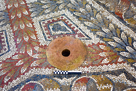 Fig. 7. Detail of the terracotta drain near the center of the mosaic floor in the frigidarium (Room 1) (scale: 20 cm).
