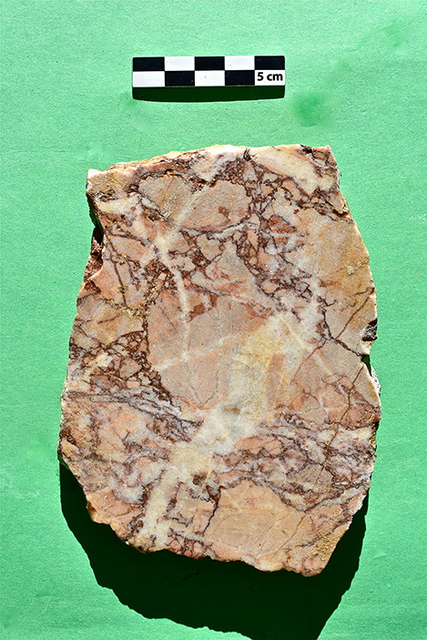 Fig. 16. A selection of marble wall veneer fragments from the heated rooms: a, bigio morato; b, giallo antico brecciato; c, pavonazzetto; d, portasanta; e, verde antico.