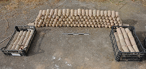 Fig. 17. The 214 intact examples of vaulting tubes (tubi fittlili)found in the excavation of Room 9 (scale: 50 cm).