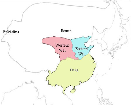 Fig. 1. Map of mid sixth-century China.