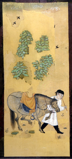 Fig. 5. Grooms and horses. Ink and color on silk. Tang dynasty, early eighth century (Watt 2004, 284).