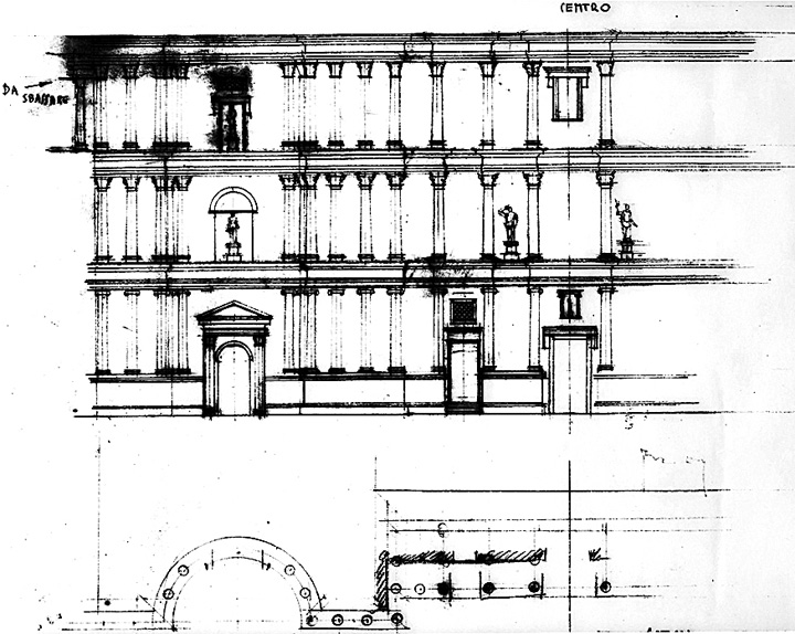 Fig. 1. Italo Gismondi's drawing of the scaenae frons, Theater of Pompey, for the model of ancient Rome (courtesy Archivio Storico del Museo della Civiltà Romana).