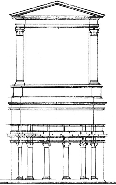 Fig. 2. Italo Gismondi's drawing of back of the Temple of Venus Victrix, Theater of Pompey, for the model of ancient Rome (courtesy Archivio Storico del Museo della Civiltà Romana).