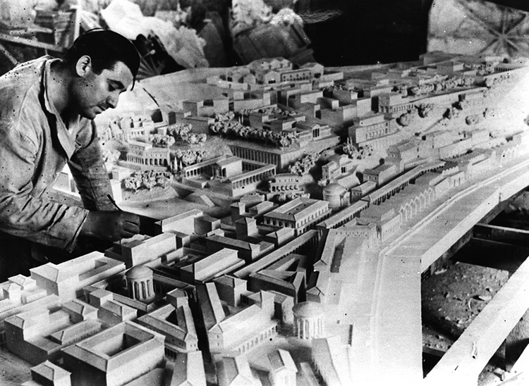 Fig. 3. Pierino Di Carlo and a part of his model of ancient Rome, ca. 1935 (courtesy P. Di Carlo).