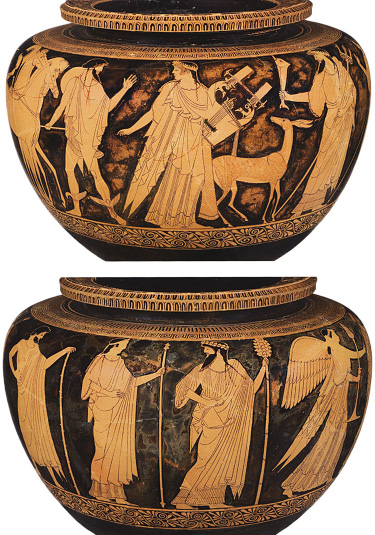 Fig. 3. Athenian red-figure dinos with a gathering of Olympian gods and perhaps Herakles, ht. 32.5 cm, ca. 480 B.C. Attributed to the Berlin Painter. Basel, Antikenmuseum und Sammlung Ludwig, inv. no. Lu 39 (after Latacz et al. 2008, no. 70; courtesy Antikenmuseum Basel und Sammlung Ludwig).