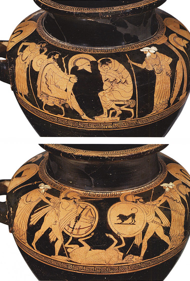 Fig. 4. Athenian red-figure stamnos: top, the embassy to Achilles in book 9 of the Iliad; bottom, warriors fighting over a dead ram, ht. 35.6 cm, ca. 480 B.C. Attributed to the Triptolemos Painter. Basel, Antikenmuseum und Sammlung Ludwig, inv. no. BS 477 (after Latacz et al. 2008, no. 104; courtesy Antikenmuseum Basel und Sammlung Ludwig).