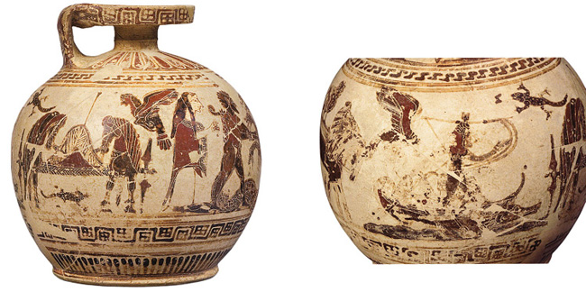 Fig. 5. Corinthian aryballos: left, Herakles fighting the Hydra; right, Odysseus and the Sirens, ht. 14.5 cm, ca. 590 B.C.E. Basel, Antikenmuseum und Sammlung Ludwig, inv. no. BS 425 (after Latacz et al. 2008, no. 183; courtesy Antikenmuseum Basel und Sammlung Ludwig).