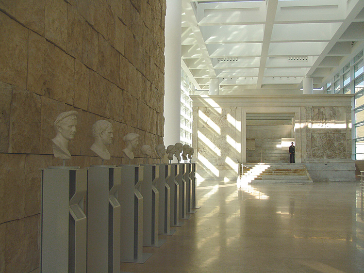 Fig. 3. Installation view of main floor: foreground, modern plaster casts of Julio-Claudian Roman portraits; middleground, the Ara Pacis Augustae, 13–9 B.C.E. (courtesy Sovraintendenza ai Beni Culturali del Comune di Roma).