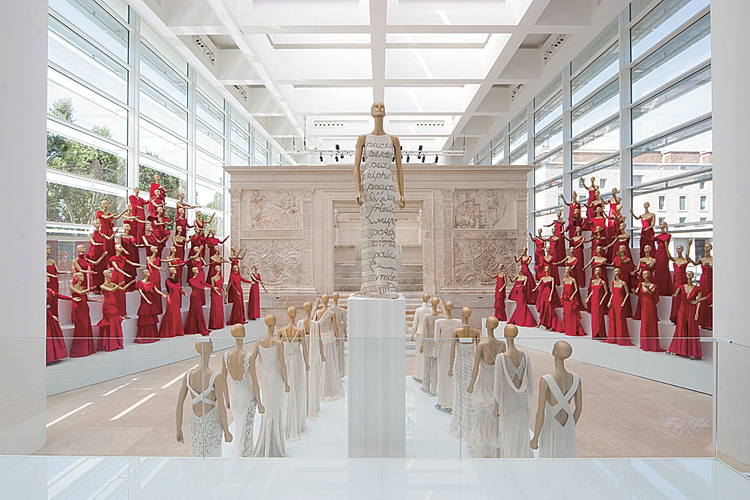 Fig. 5. Installation view of the exhibition Valentino in Rome: 45 Years of Style in the main gallery of the Ara Pacis Museum (B. Pediconi; courtesy Valentino Archives).
