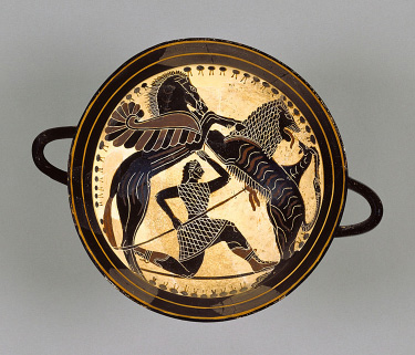 Fig. 4. Laconian black-figure cup with Pegasus, Bellerophon, and the Chimaera, diam. (without handles) 18.5 cm, ca. 565 B.C.E. Attributed to the Boreads Painter. Malibu, Villa Collection of the J. Paul Getty Museum, inv. no. 85.AE.121.1.